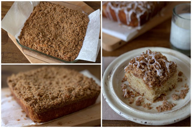 Collage of baking a Buttermilk Banana Crumb Cake