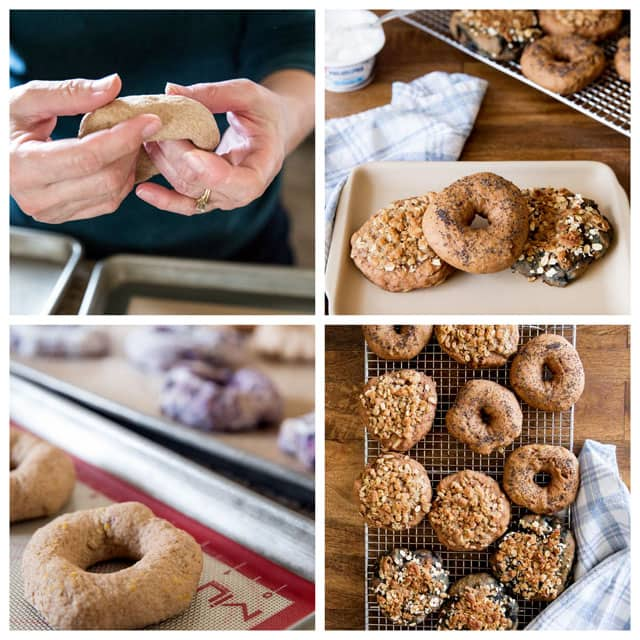 Collage of making Sprouted Wheat Bagels