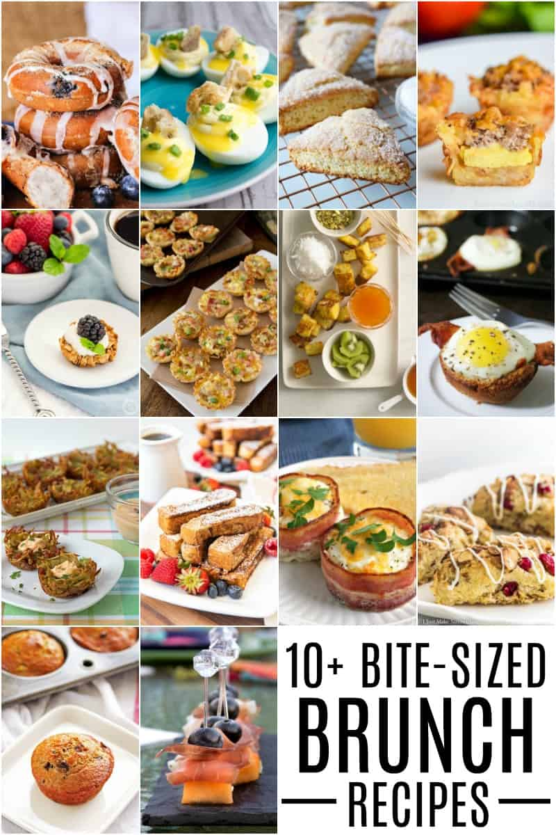 PInterest collage of 10+ Bite-Sized-Brunch Recipe Ideas