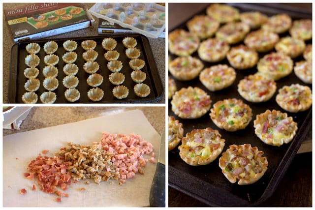 A collage of making Meat Lovers Mini Quiche