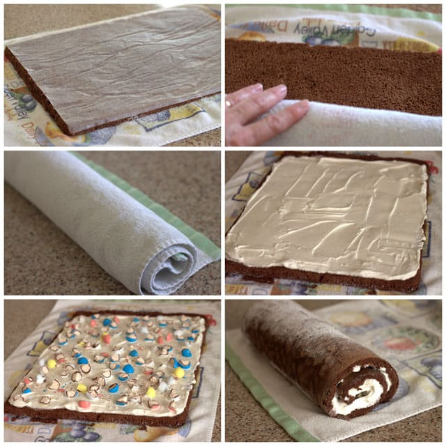 Collage of making a Malted Milk Ball Ice Cream Cake Roll