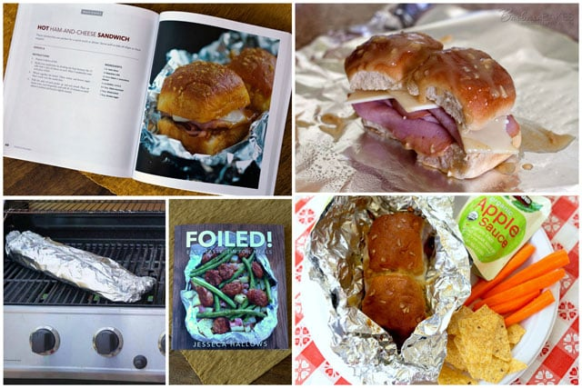 A collage of quick, easy-to-make tin foil ham and cheese sandwiches are perfect for camping, or a fun backyard picnic.