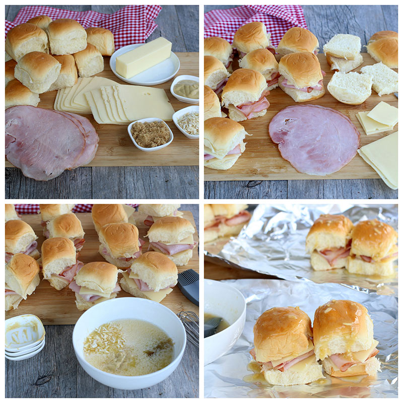 collage of ingredients for Ham and Cheese Sliders
