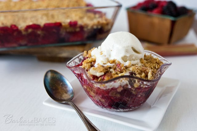 Featured Image for post Triple Berry Rhubarb Crisp