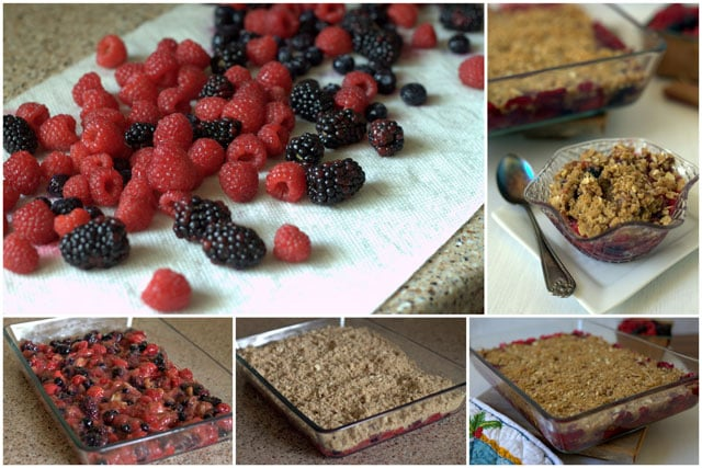 Collage of making Triple Berry Rhubarb Crisp