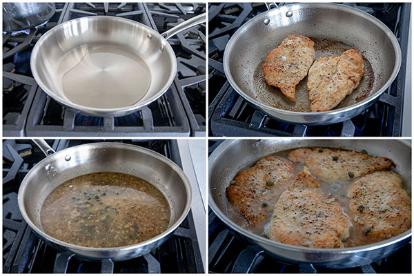 collage of frying chicken cutlets for Quick and Easy Chicken Piccata