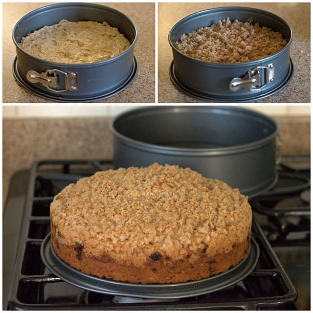 Collage of making Cinnamon Zucchini Streusel Coffee Cake
