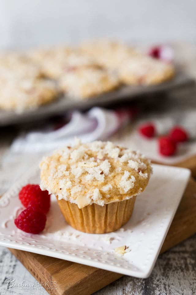 Raspberry Banana Streusel Muffin on a white plate