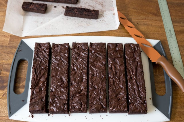 Trim the edges of the brownies.