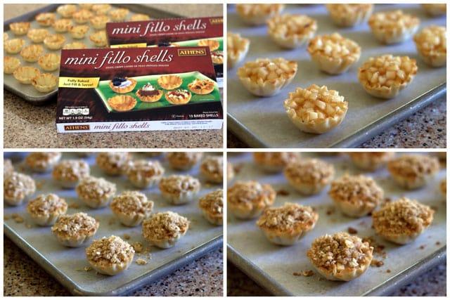 Collage of making Dutch Caramel Apple Pie Bites