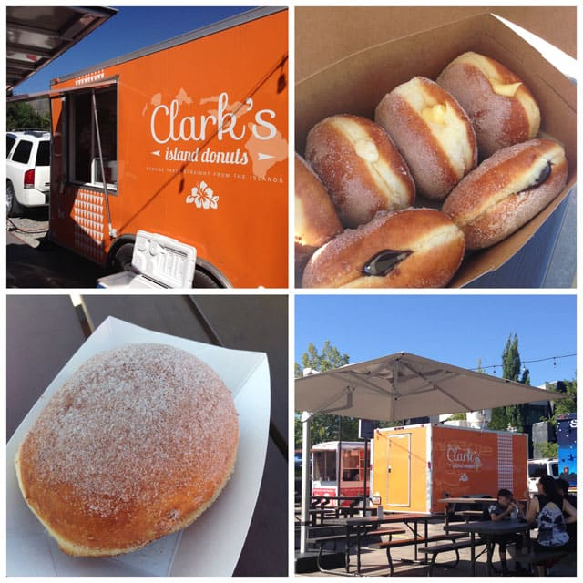 Collage of Clark\'s Island Donuts food truck