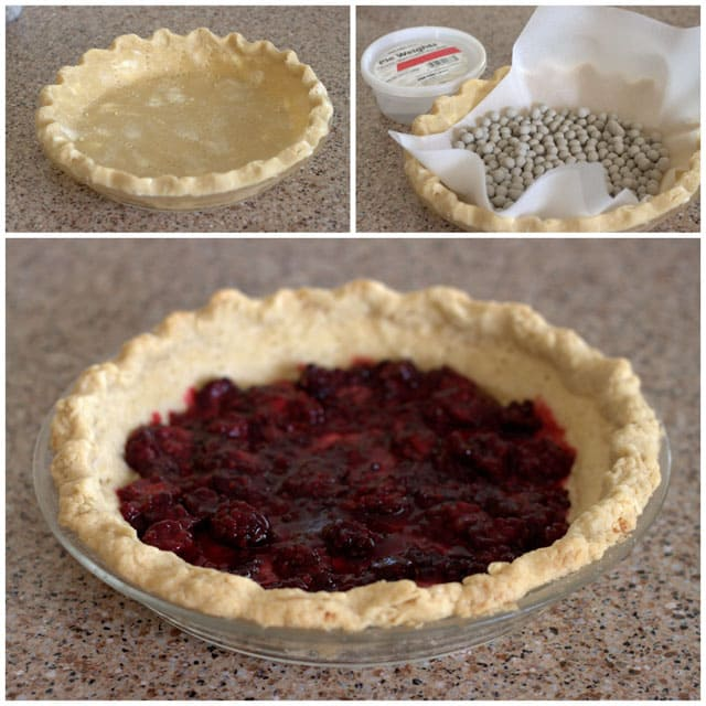 Collage of making a Lemon Blackberry Chess Pie