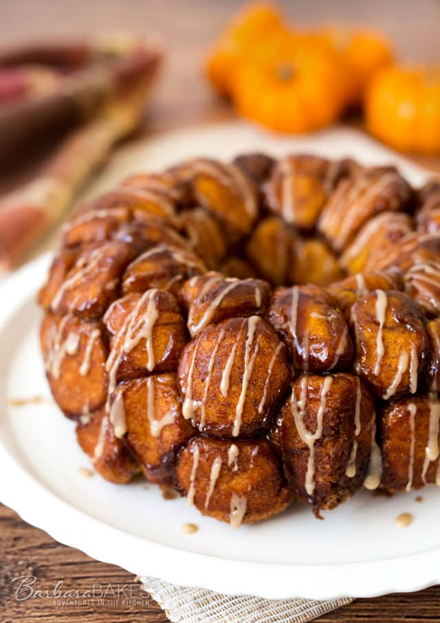 Overnight Pumpkin Monkey Bread with Maple Icing