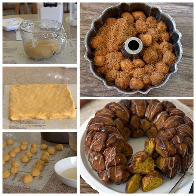 Collage of making Overnight Pumpkin Monkey Bread