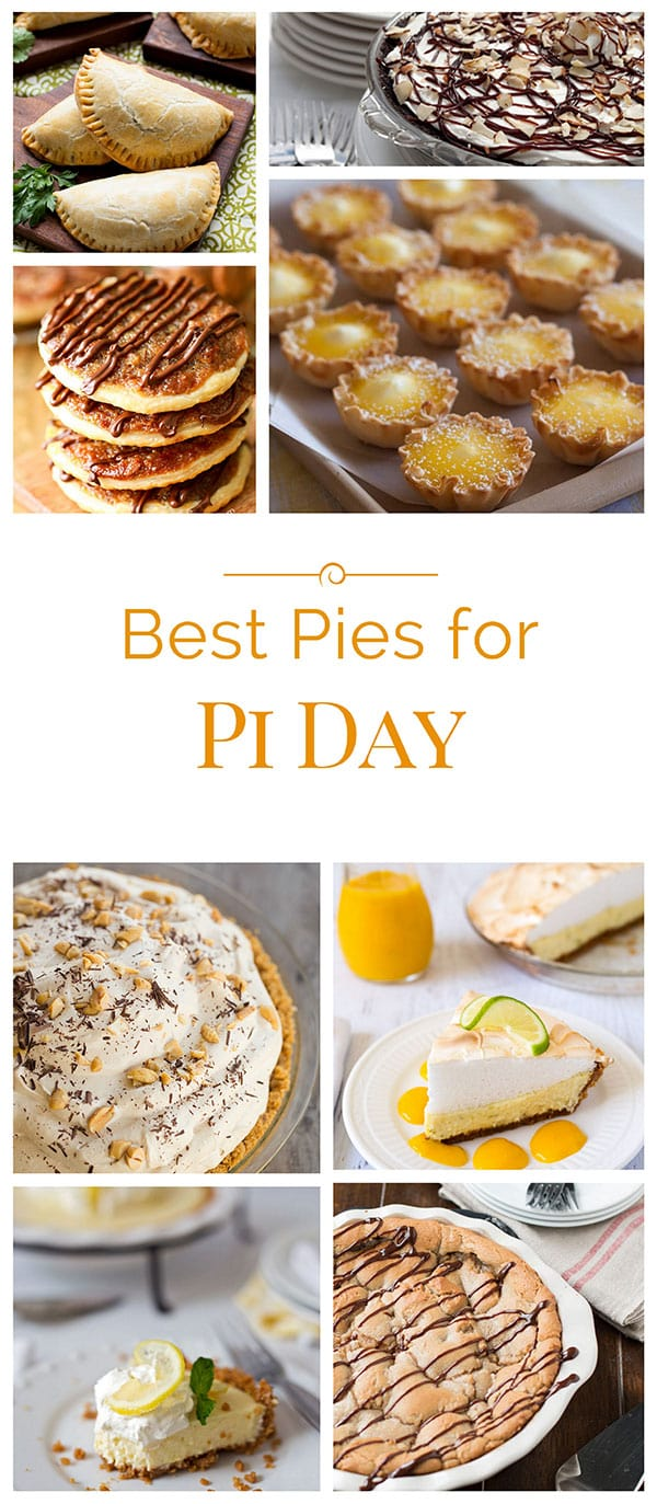 A roundup collage of the best pies for Pi Day on Barbara Bakes and around the web to help you celebrate Pi Day - March 14 (Pi is 3.14).