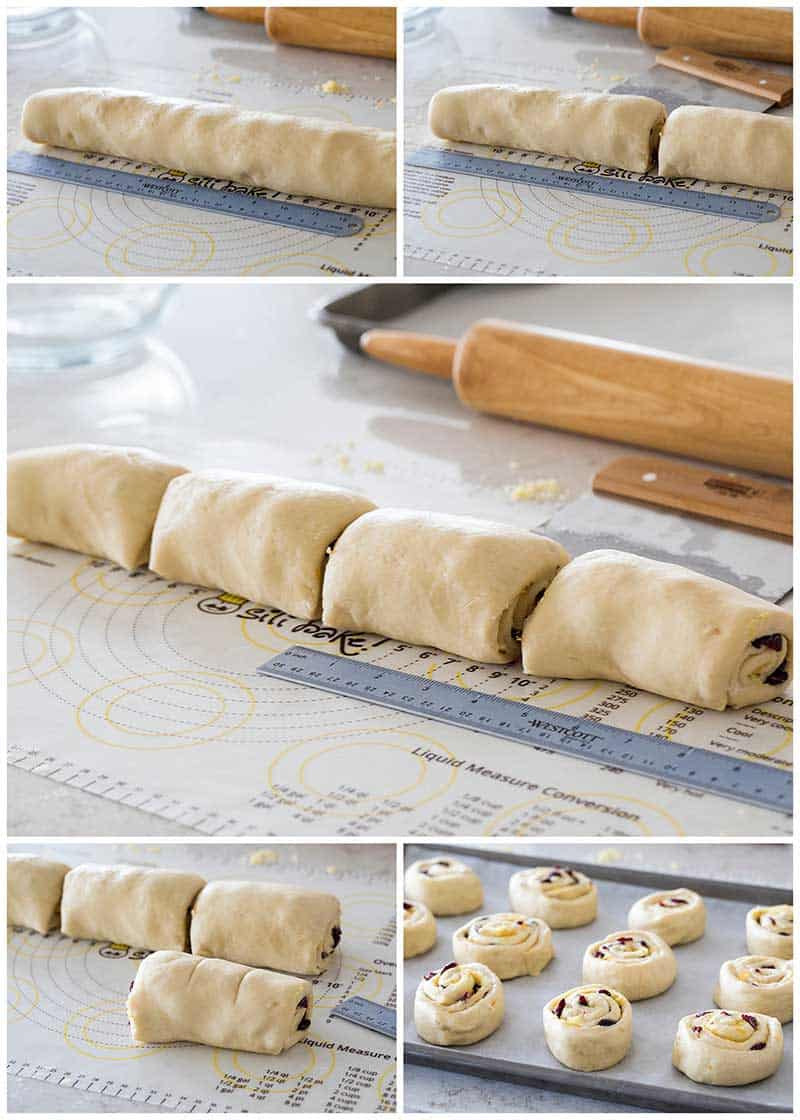 Collage of slicing Cranberry Citrus Cream Cheese Sweet Rolls