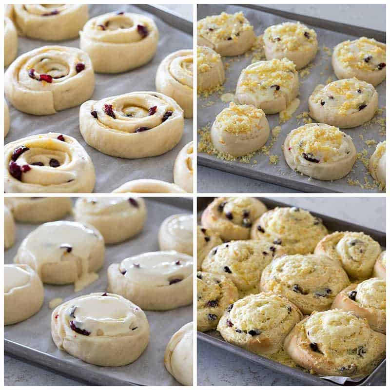 Collage of adding the toppings to Cranberry Citrus Cream Cheese Sweet Rolls