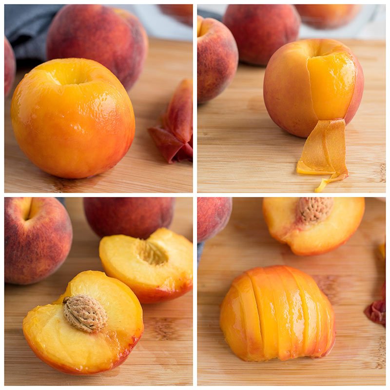 collage of step by step photos of slicing peaches