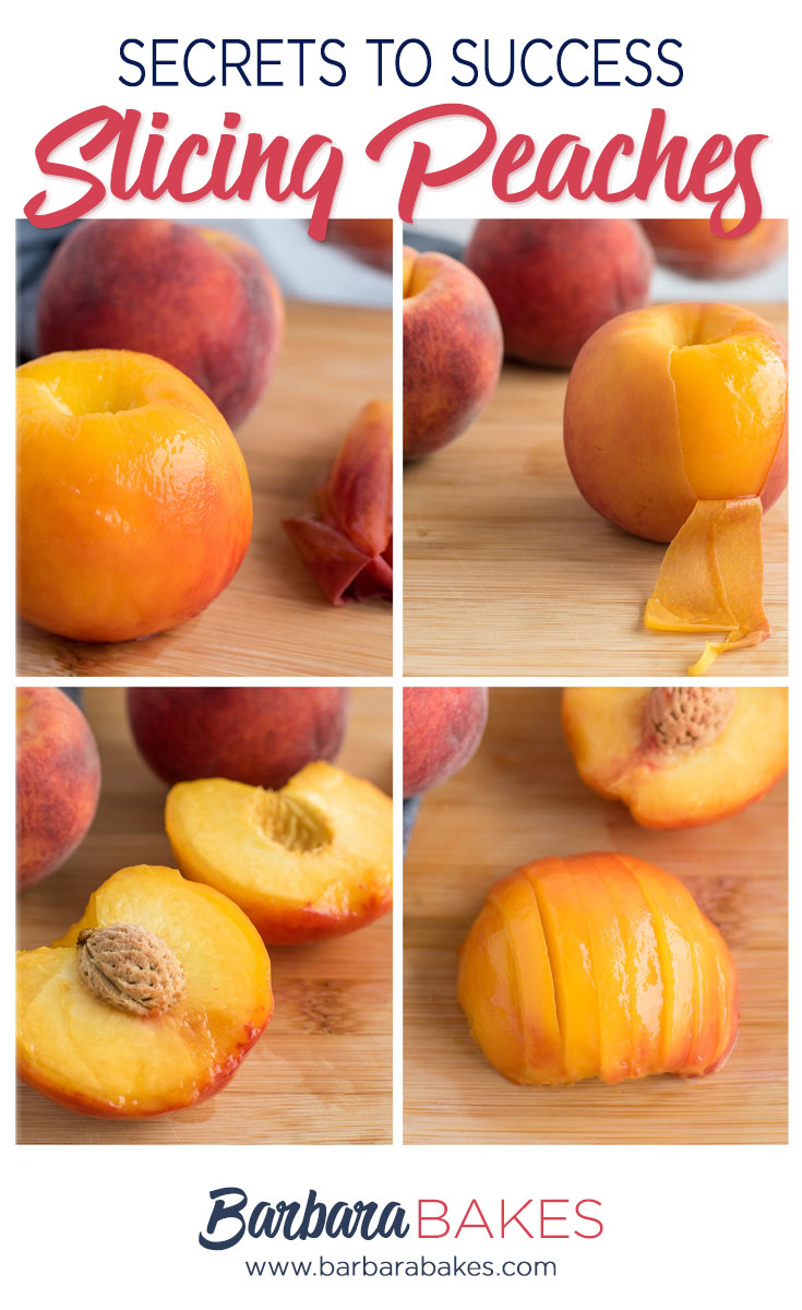 collage of step-by-step photo tutorial on how to slice peaches.