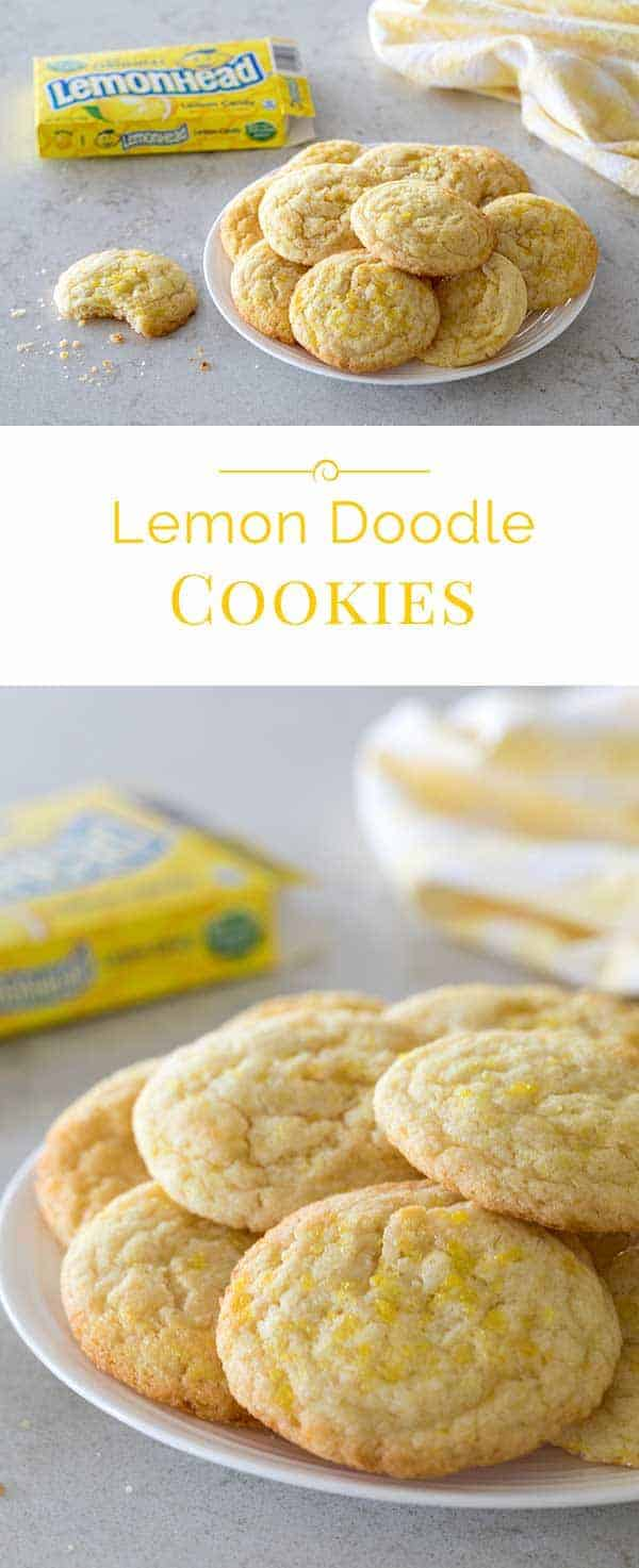 A fun twist on a Snickerdoodle Cookie, these Lemon Doodle Cookies are a soft lemon cookie rolled in crushed Lemonhead candies and yellow sanding sugar so they have a sweet tart sugar coating on the outside.