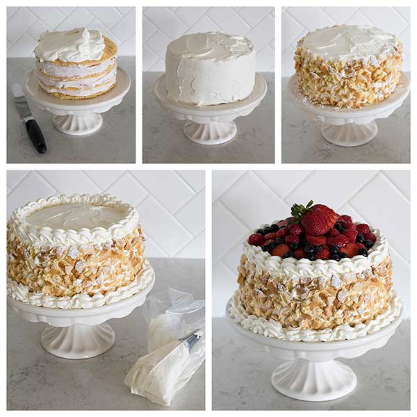Collage of decorating a Triple Berry Choux Cake