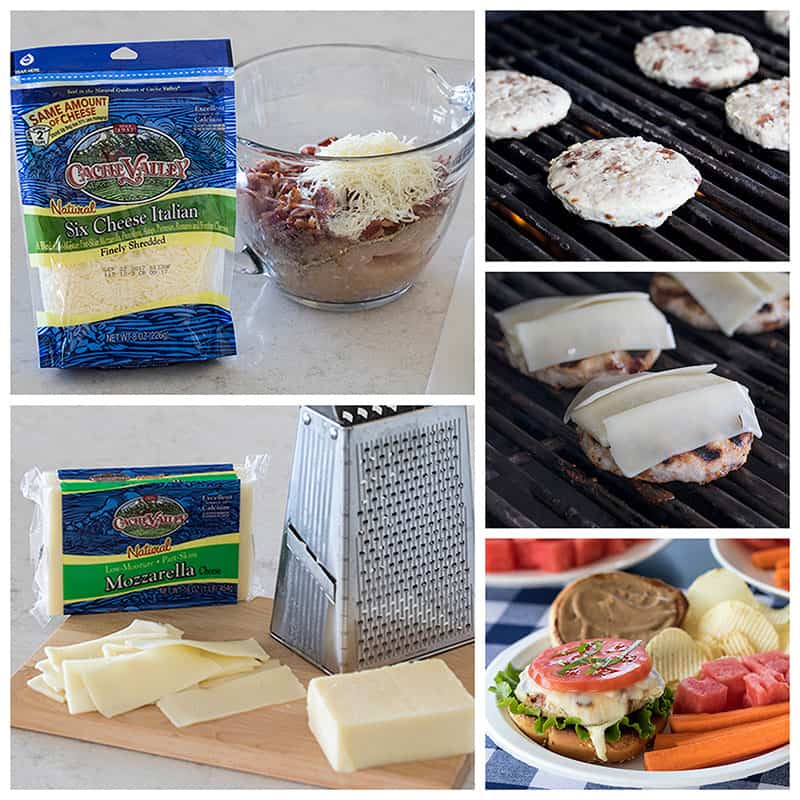Collage of making Chicken Caprese Burgers with Cache Valley Cheeses