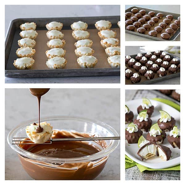 Collage of making Chocolate Covered Frozen Key Lime Pie Bites