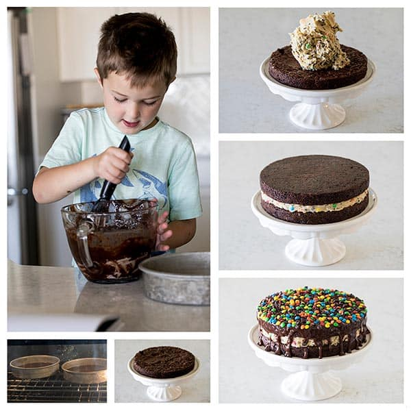 Collage of making a Cookie Dough Brownie Bomb Cake