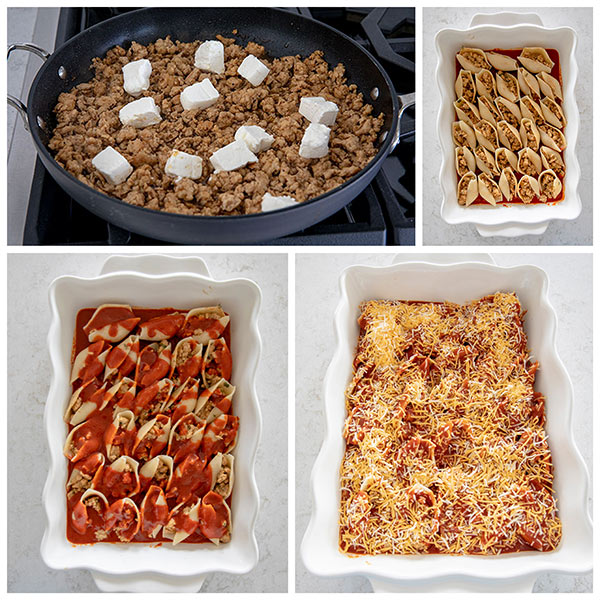 Four photo collage showing the steps of making stuffed pasta shells