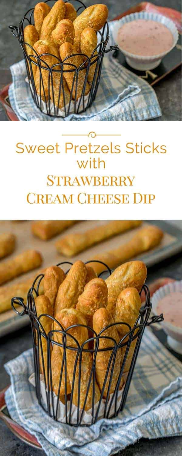 These Sweet Pretzels Sticks with Strawberry Cream Cheese Dip are a fun-to-make, fun-to-eat snack that's perfect for after school or even dessert.