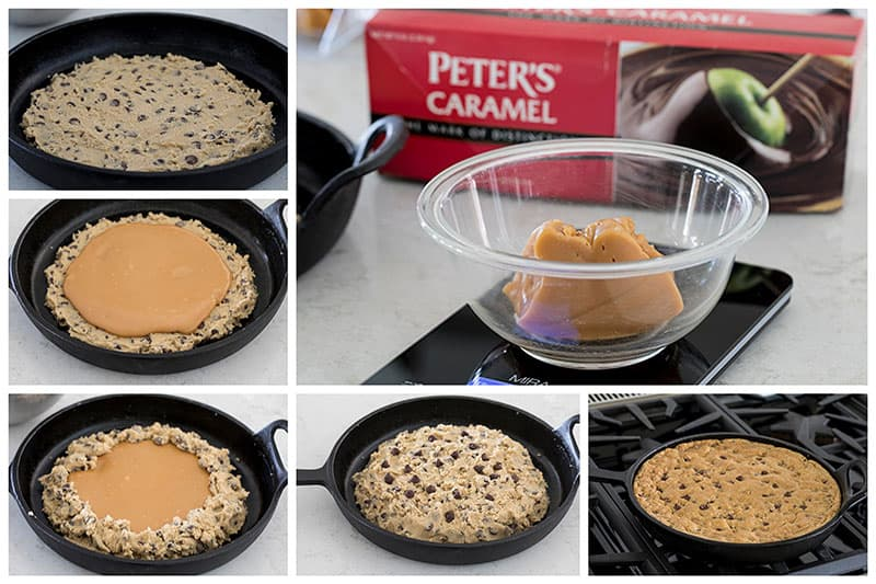 Step by step photo collage showing how to make a Caramel Stuffed Chocolate Chip Skillet Cookie