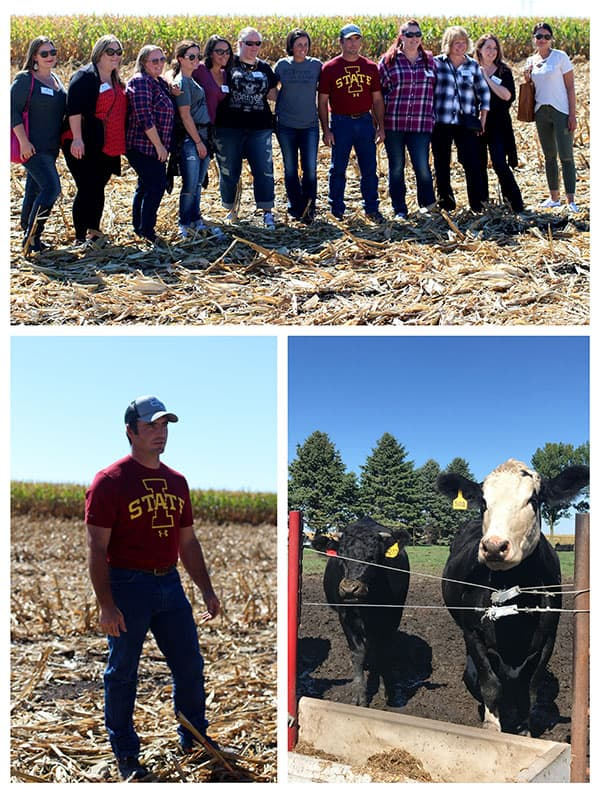 Photo collage of first stop at the IA CornQuest -  the Blair Farm to learn about ethanol and cattle feed.