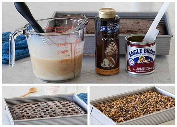 ingredients and photos making a Turtle Poke Cake