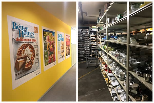 Photo collage of magazine covers and tour at Meredith Corporation.