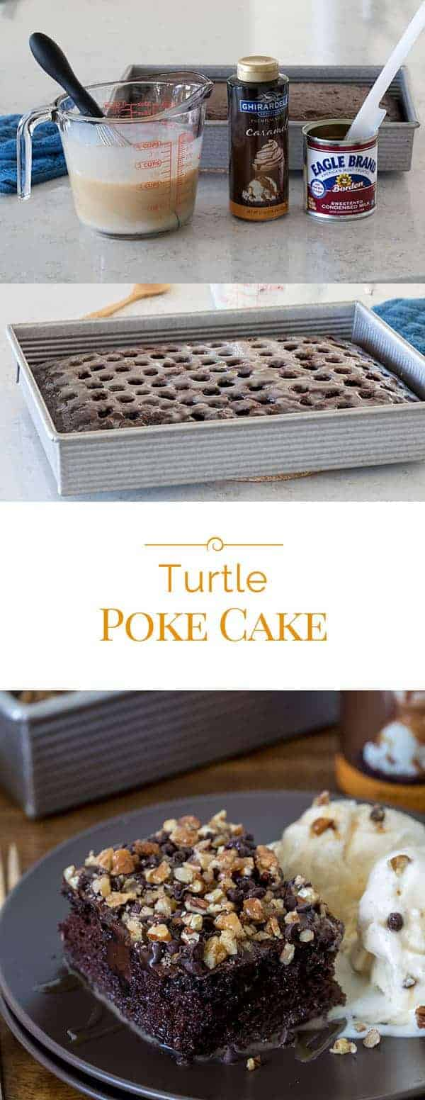 turtle poke cake photo collage