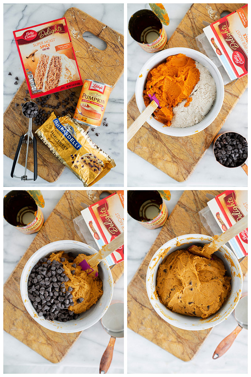 ingredients and baking steps to make pumpkin chocoalte chip cookies with cake mix