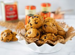 white bowl of easy pumpkin chocolate chip cookies for halloween