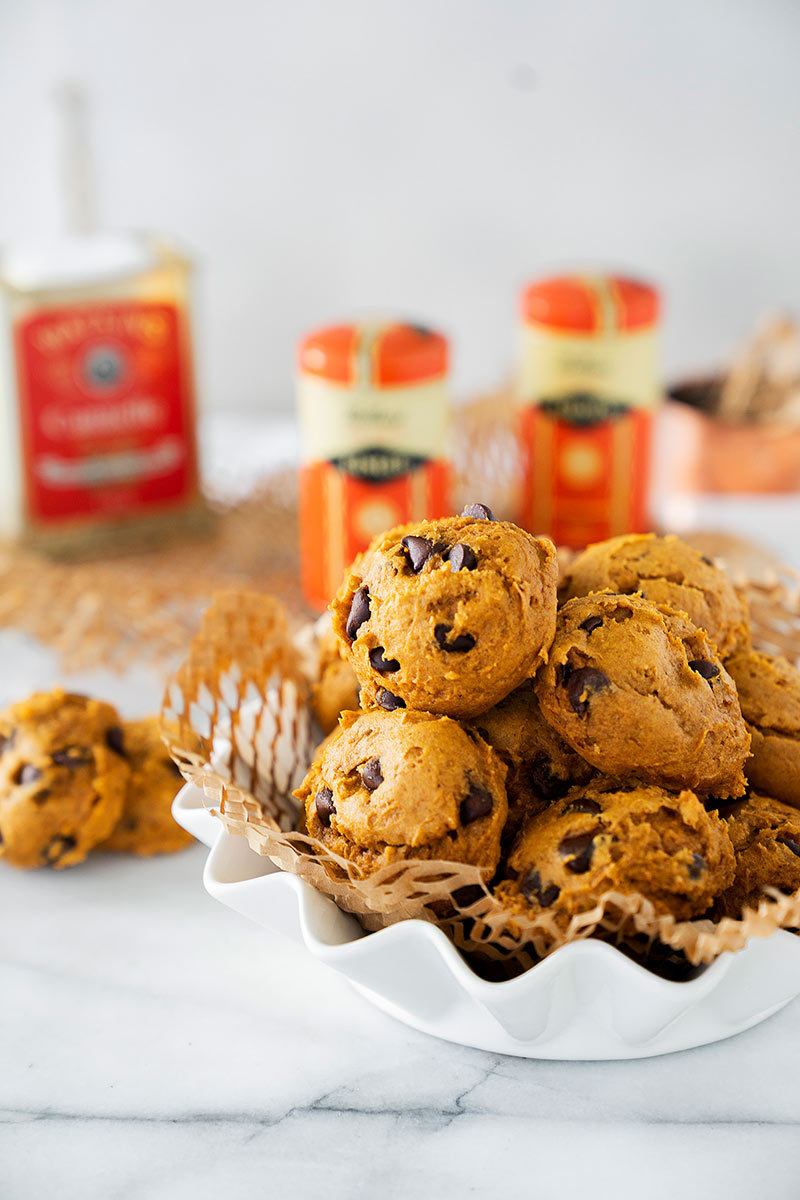 easy pumpkin chocolate chip cookies in a white serving bowl