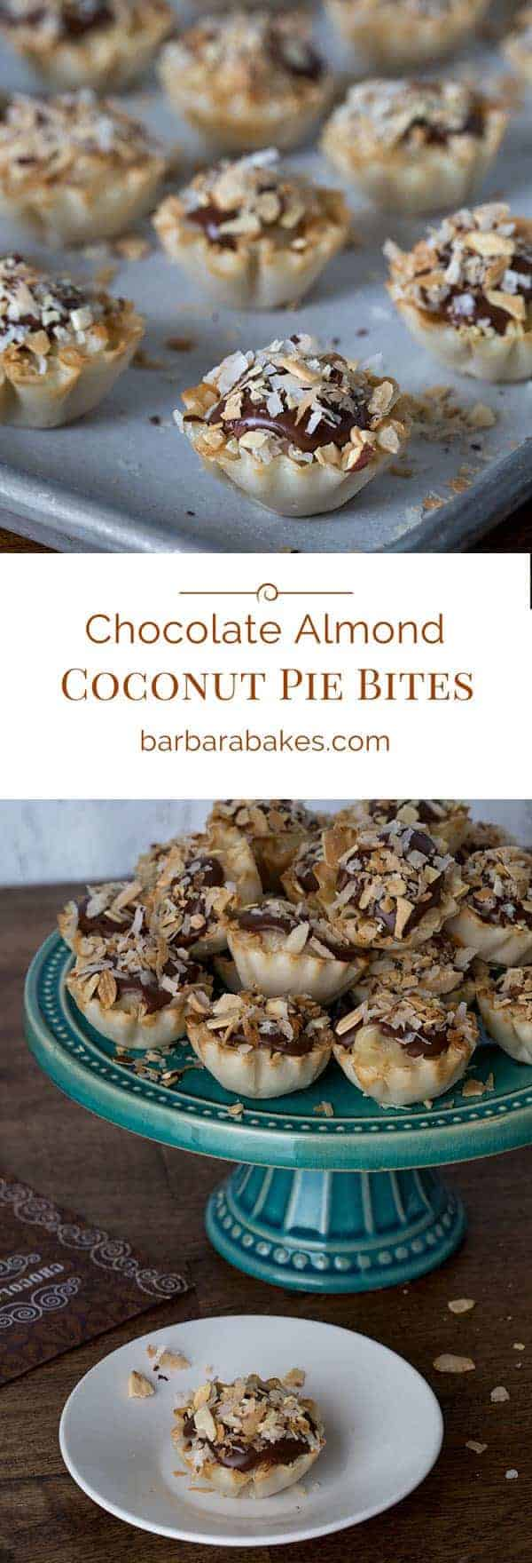 titled photo collage (and shown): Chocolate Almond Coconut Pie Bites