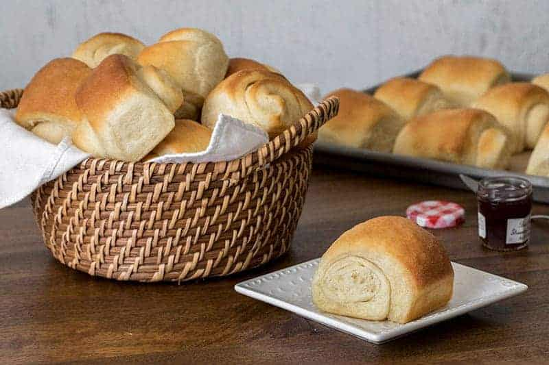 a basket of homemade Lion House Rolls
