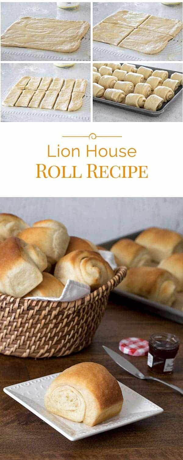 titled photo collage: Lion House Roll Recipe