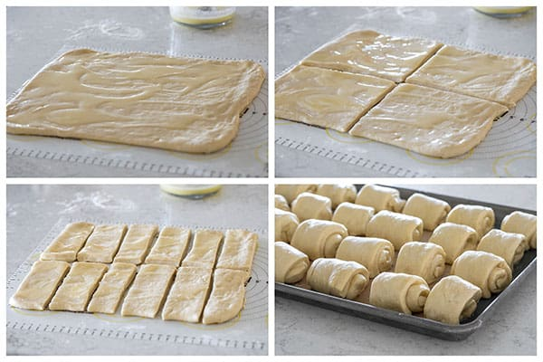 Photo collage of making and shaping Lion House Rolls