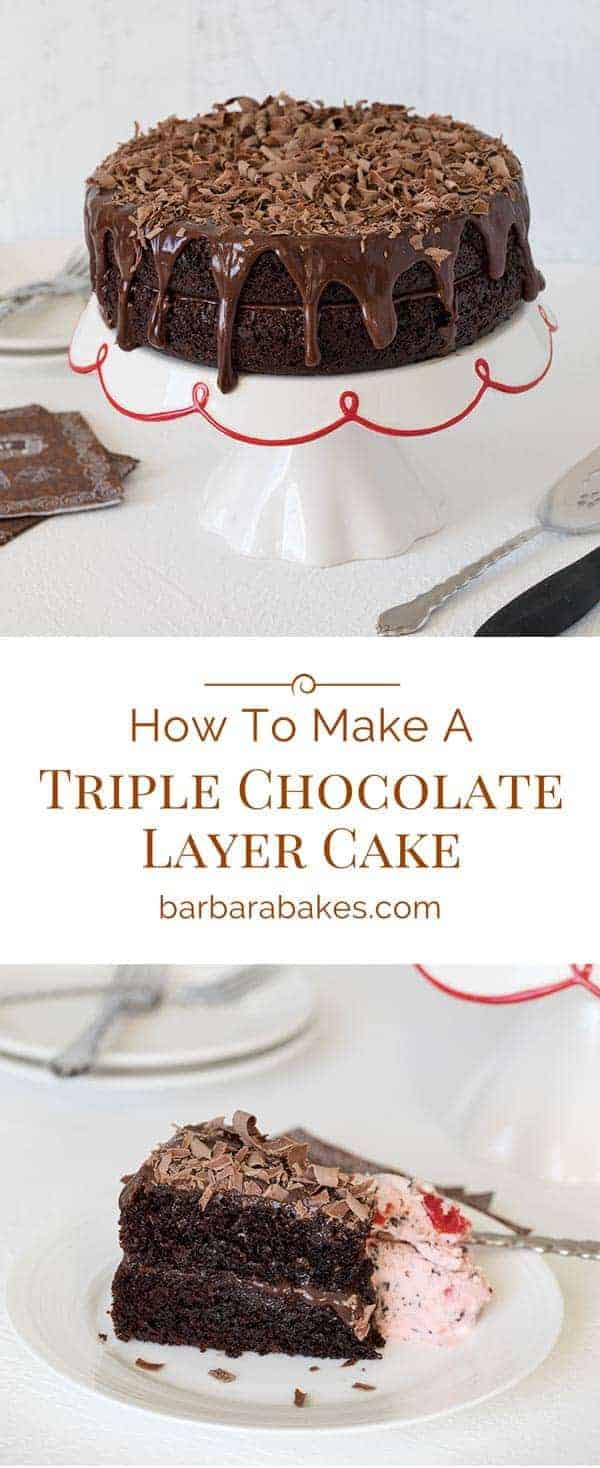 A collage of How-To-Make-A-Triple-Chocolate-Layer-Cake