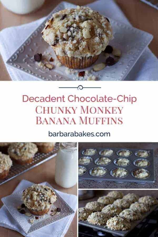 Pinterest image of chunky monkey banana muffins