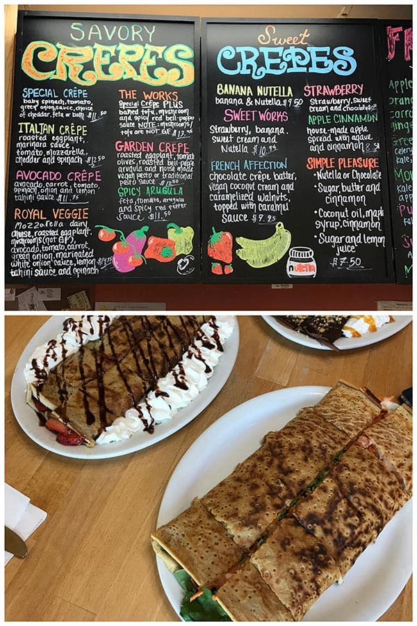 Photo collage of Sweet and Savory Crepes at Crepes Bistro