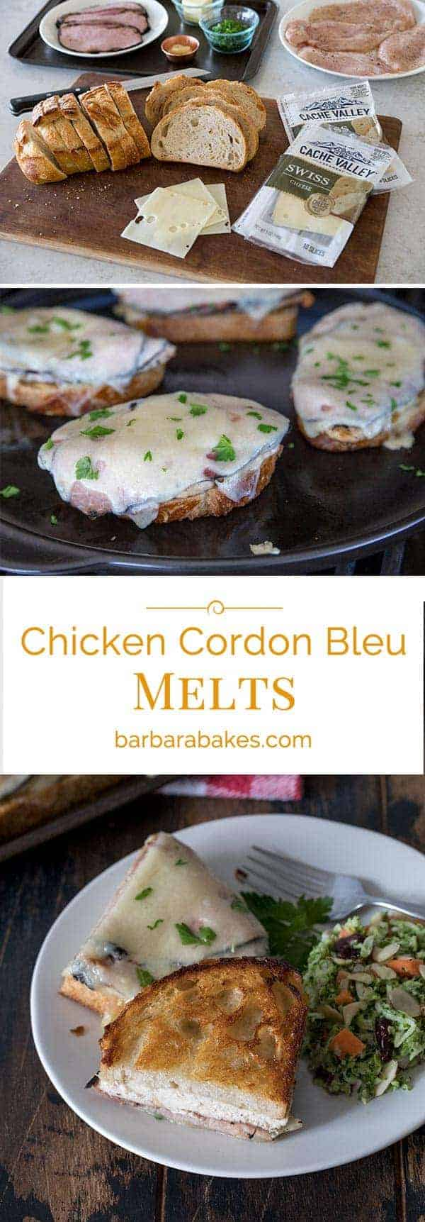 These Chicken Cordon Bleu Melts are a mash up of Chicken Cordon Bleu and a Sandwich Melt. Thin cutlets of grilled chicken topped with Black Forest Ham and Swiss Cheese Slices grilled on sour dough bread until the cheese is melted and the bread is toasted and golden brown.