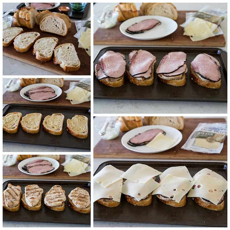 Step by step picture collage of making Chicken Cordon Bleu Melts