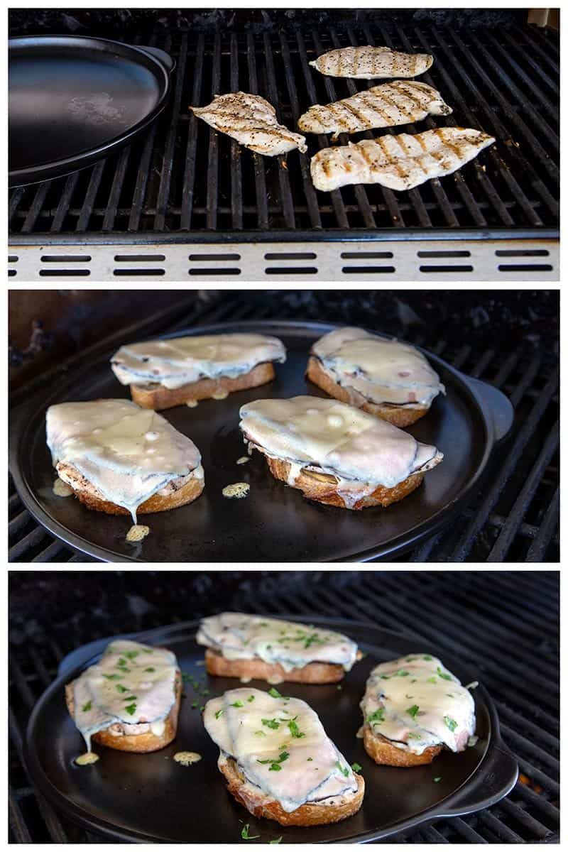A collage of Cooking Chicken Cordon Bleu Melts on the grill.