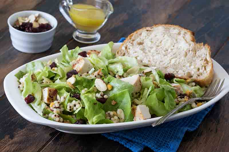 Featured Image for post - Butter Lettuce Couscous Salad With Grilled Chicken, Cranberries And Almonds