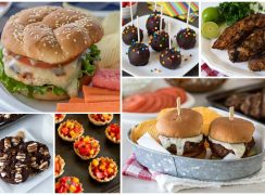 A collage of BBQ recipe ideas: chicken caprese burgers, s'mores cookies, fruit cups, brownie pops, pork tenderloin, sliders